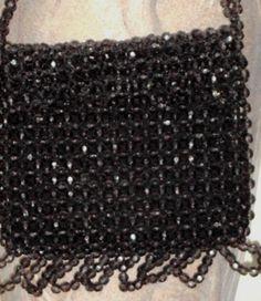 Beaded Handbag Vintage Fringed Gray Faceted Beads Purse Hong Kong.
