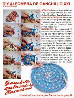 Alfombra XXL con Cinta Reciclada o Trapillo - Patrón Gratis en Español aquí: http://sacocharte.blogspot.com.es/2013/10/tutorial-diy-alfombra-xxl-con-cinta.html