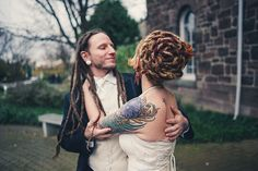 Awesome wedding dreads on both the bride and groom!