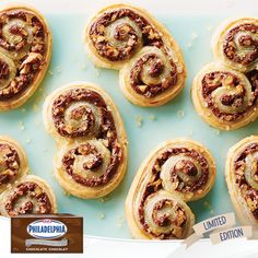 Baking Tips for our NEW PHILADELPHIA Chocolate Brick Cream Cheese: Chocolate Cheesecake Palmiers