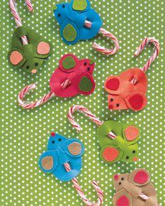 DIY #Candy Cane Mice kids christmas crafts, diy candi, kid christma, candi cane, candy canes, cane mice, christma craft