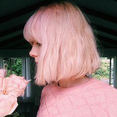 color, pastel pink, hairstyl, pink hair bob, pink bob hair