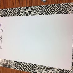 Zebra duck tape reminder board for classroom
