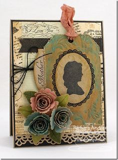 Vintage Cameo Frame Die-namics and Stamp Set, Royal Roses Die-namics, Royal Leaves Die-namics, Mini Tabs Foursome Die-namics, Traditional Tags STAX Die-namics, Fishtail Flags STAX Die-namics, Faux Crochet Border Die-namics - Barbara Anders