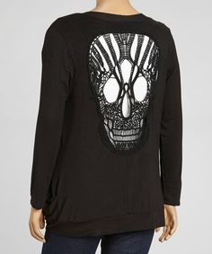 This Black Crocheted Skull Cutout Open Cardigan - Plus is perfect! #zulilyfinds