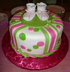 pink and green baby shower baby shower cake