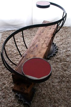 """""""Farm Punk""""… I love it. All made from re-used / re-appropriated materials: reclaimed beam from an 1800's farmhouse, discarded bulldozer sprocket, gang mower axles, bands from a demolished silo, steel wagon wheel, retired stop sign    :: discarded bulldozer sprocket    :: gang mower axles    :: bands from a demolished silo    :: steel wagon wheel    :: retired stop sign"""