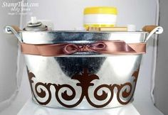 Galvanized Bucket with vinyl decal. Cute storage or just add home goods and it's a gift! LOVE this!