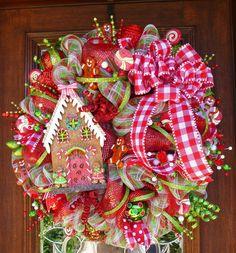 Deco Mesh WHIMSICAL GINGERBREAD HOUSE Wreath by decoglitz on Etsy