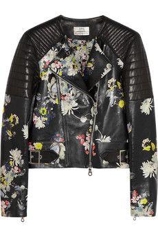 Jade floral-print nappa leather biker jacket by: Erdem