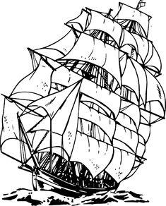 Water, Drawing, Sailing, Ship, Sailboat, Boat, Pirate