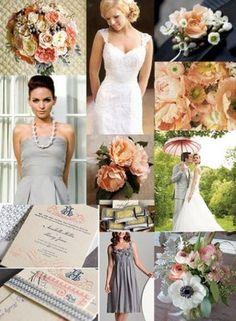 grey peach wedding