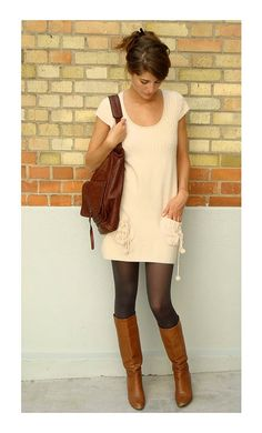 Dress with Tall Boots - cute