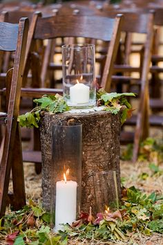DIY wedding ideas. Tree stumps and leaves for a fall wedding aisle decor. | Photo by Jessica Monnich.