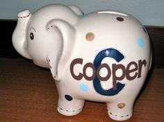 Personalized Ceramic Elephant Bank. $28.00, via Etsy.
