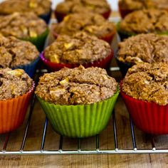 Recipe for Made-from-Scratch Low-Sugar and Whole Wheat Bran Muffins with Apple and Walnuts from Kalyn's Kitchen  #LowGlycemicDesserts