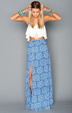 Mick Slit Maxi Skirt ~ Mykonos