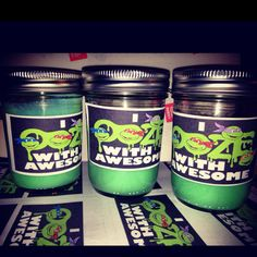 Ninja Turtle Ooze Slime as Party Favors (Slime made out of Borax Slime Recipe + Mason Jars and Sticker Labels)