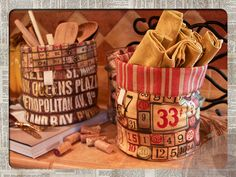Eclectic Elements by Tim Holtz for Coats - Round Lined Basket with Cuff | Sew4Home