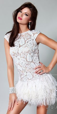 Jovani lace and feather dress