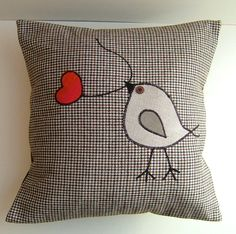 "I like this appliqued bird :) The red heart on a string adds just the right ""pop"" of color."