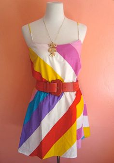 Vintage rainbow dress.
