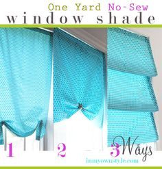 One Yard No Sew Window Shade 3 ways