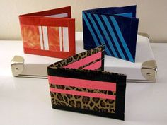 Three duct tape wallets