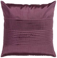 Center Pleated Plum Purple Square 18-Inch Surya Throw Pillow #interior_design #home_accessories See more http://www.eurostylelighting.com/home+accessories-category/search.htm