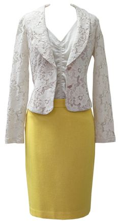 This outfit is unexpectedly spring! The Spring '13 Lacy Jacket and Front & Center Top pair back beautifully to the warm and colorful Fall '12 Curry Skirt OR equally cute with your fave CAbi jeans!