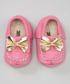 Hot Pink Leather moccasins with Gold Bow Loafer by CageandLantern, $55.00