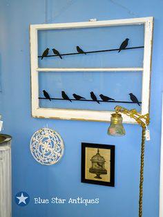 antique windows, silhouett, old window panes, frame, blue, three little birds, old windows, star, vinyl