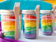 Mason Jar Crafts - Easy DIY Rainbow Cupcakes in Mason Jars   Recipe Tutorial   #crafts #masonjars via Put it in a Jar (putitinajar.com)
