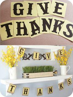 Buy: GIVE THANKS vinyl lettering for banner, wall art or sign. #houseofsmithsdesigns #thanksgivingdecor #falldecoratingideas