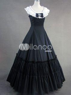 Classic Lolita Victorian Aristocrat Black Cotton Long Dress Floor Length - Milanoo.com