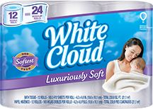 New White Cloud Luxuriously Soft is a super premium bath tissue is infused with luxury and Made From The Softness of Clouds.