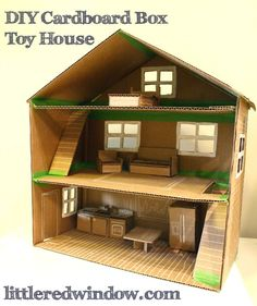 DIY Cardboard Box Toy Doll House, make an adorable play house out of an old box! via littleredwindow.com