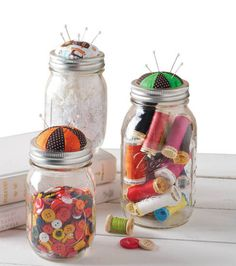 Pincushion Top Mason Jars | Great for an easy Christmas gift | Create your own pincushion Ball Jar with DIY directions from Joann.com