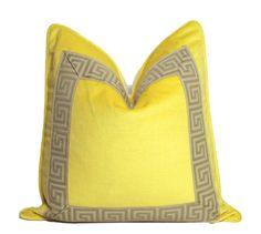 Lemon Yellow Velvet Pillow with Greek Key Detail
