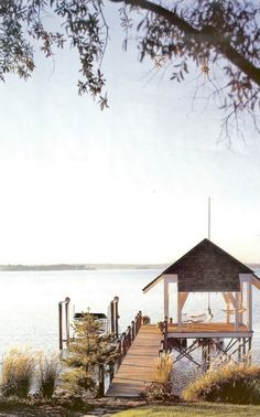 Rope railing cabin, lake houses, the bay, lake living, dream, back porches, backyard, hammock, place