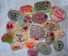 Some of the rocks my family painted for mom's memorial garden!
