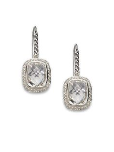 David Yurman - Diamond & White Topaz Sterling Silver Rectangular Earrings - Saks.com