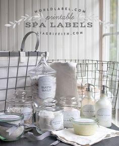 Free printable editable Spa Labels by Lia Griffith - Handcraft Your Life A really outstanding collection you can use for favors, gifts and many other labeling bath and body labeling projects  Download here: http://blog.worldlabel.com/2014/editable-and-printable-spa-labels.html