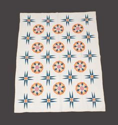 "Piece and Appliqued Cotton Dresden Plate and Star Quilt, 4th quarter 19th c., 95"" x 75"", Crocker Farm, Magenta, Green and Orange Starburst Quilt with Bird and floral border, 2nd half 19th C., 80"" x 78"", Crocker Farm, Live Auctioneers"