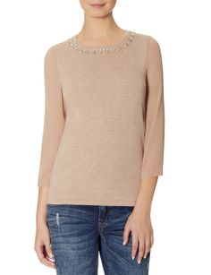 Embellished Neckline Sweater | Sheer Sleeve Sweater | THE LIMITED