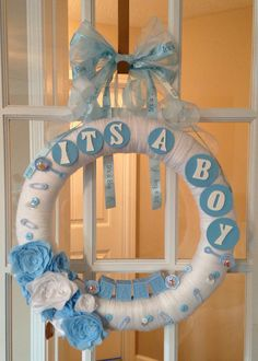 Baby Shower Wreath by aDOORableBoutique on Etsy, $50.00