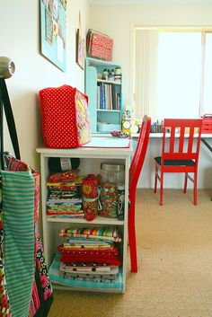 red and aqua sewing room
