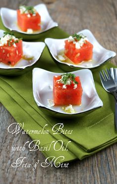 Watermelon Bites with Basil Oil, Feta & Mint
