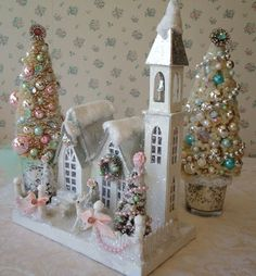 Shabby Chistmas House Cathedral with Bottle Brush Trees