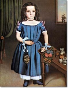 Unknown Artist - American Folk Art Painting Portrait by Unknown Artist - Tea Time 1840 -  20 x 16  Approximate Size Of Original Painting In Inches Painting